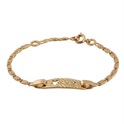 Baby Girls 18K Gp Patterned  Cut-Out Star  Id Bracelet.free Post In Oz