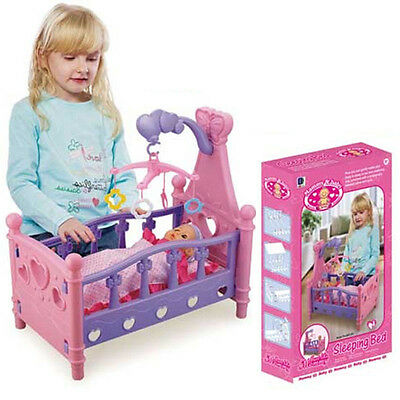 Baby Kids Children Girls Pretend Mommy Role Play Toy Cradle Crib Doll Cot Bed UK