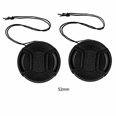 2 x 52mm Front Lens Cap Hood Cover Snap-on Canon Nikon Sony Pentax DSLR Camera