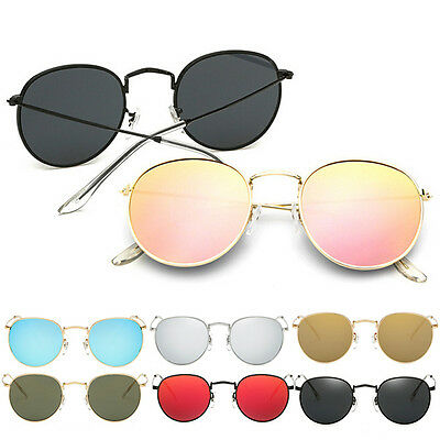 Retro Women Men Metal Frame Sunglasses Glasses Vintage Round Outdoor Eyewear BG