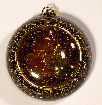 Orgonite pendant with citrines, amethyst and agates; strong EMF protector