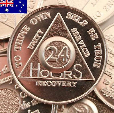 AA alcoholics anonymous silver 24 hour recovery sobriety coin token medallion