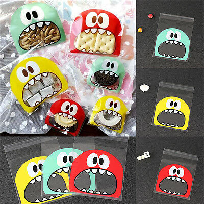 10*10cm Cute Monster Cello Cellophane Bags Party Favor Gift Biscuit Sweets Bag