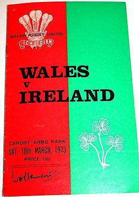 Rugby Union Programme 10.3.73. WALES v IRELAND