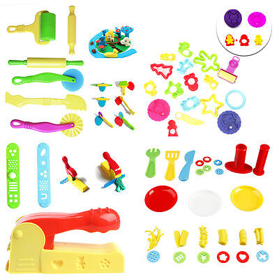 Kids Mixed Plastic Plasticine Clay Dough Cutters Moulds Childrens Modelling Tool