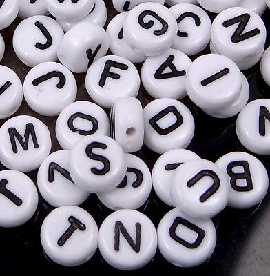 4x7mm White Black Acrylic Disc Flat Round Letter Alphabet Beads spacer (150)
