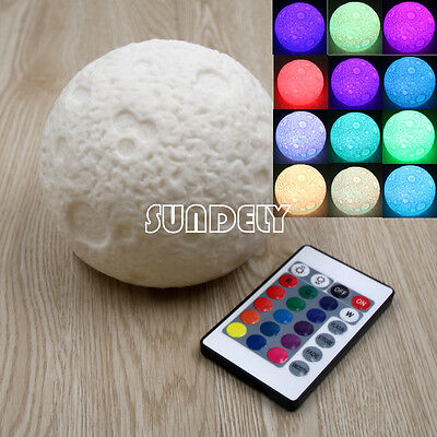 Colour Changing Moon Lamp Remote Control LED Kid's Desk Night Light Outer Space