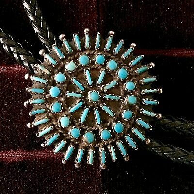 Vintage elegant turquoise bolo tie possibly Native American, Zuni