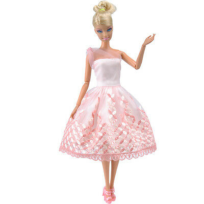 Doll Clothes Wedding Evening Party Dress Lace Mini Skirt Gift for Barbie Dolls S