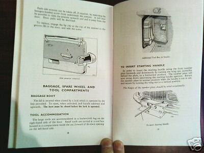 Sunbeam Alpine Mark 1 Owners I Handbook Talbot Rootes Instruction Service