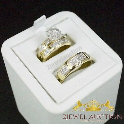 Diamond Wedding 10K Yellow Gold Trio His And Her Bridal Band Engagement Ring Set