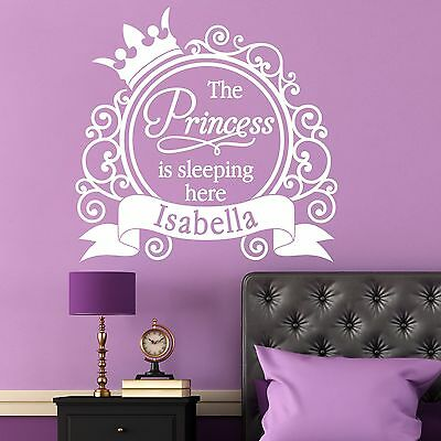 Wall Sticker Personalised Name Girl Princess Vinyl Decal