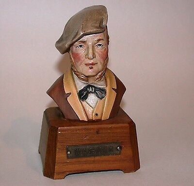 Carved Anri Musical Box Wooden Bust Figure of Wagner Plays The Wedding March