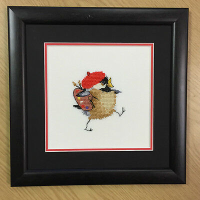 CHICKADEE framed completed cross stitch picture ARTIST CHICK - VALERIE PFEIFFER