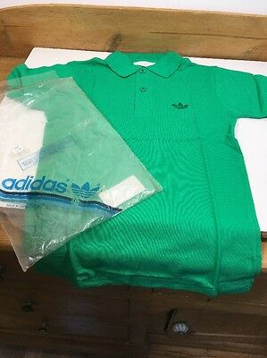 VINTAGE 1970s 1980s Adidas Trefoil T-shirt Pique Polo Shirt Large Boys Green