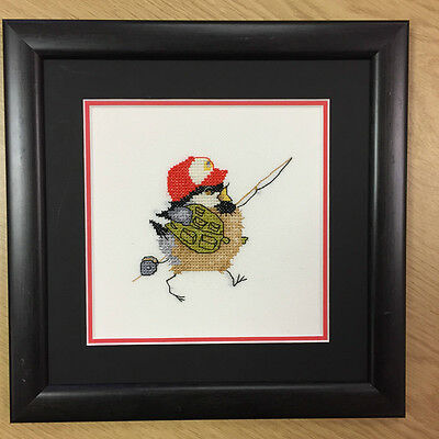 CHICKADEE framed completed cross stitch picture FISHING CHICK - VALERIE PFEIFFER
