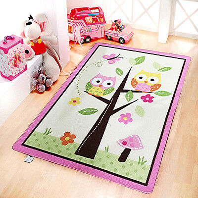 Children's Soft Owl On Tree Bedroom Floor Rug Boys Play Mats Carpets Non-Slip