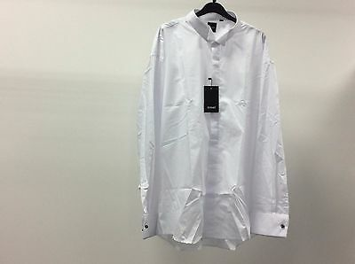 Mens White Wing Plain Tuxedo Wedding Formal Dinner Dress Shirts Multiple Sizes
