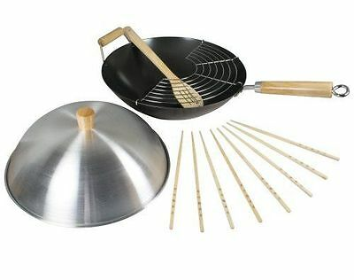 Dexam Swift Spice 34cm Heavy Gauge Non-Stick Carbon Steel Wok 8 Piece Set