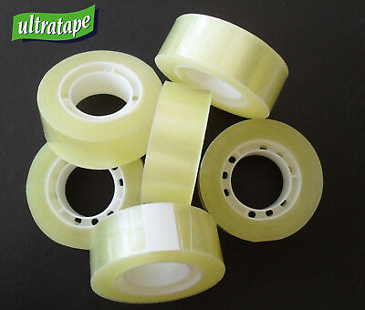 Easy Tear Clear Sellotape 19mm x 33m Sticky Packaging Tape Rolls or Dispenser