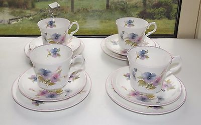 Springfield Staffordshire English Bone China 4 x Trios Cups Saucers Plate Pansy