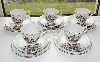 Vintage Old Foley James Kent England  Apple Blossom 5 x Trios Cups Saucers Plate