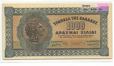 Greece 1000 Drachmai 1941 AU