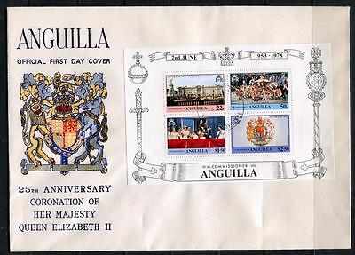 Anguilla: 1978 25th Anniv of Coronation  FDC M/Sheet First Day Cover WW285