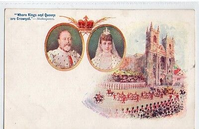 Chromolithograph card Where Kings and Queens are Crowned. Edward the seventh