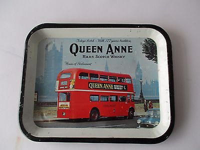 VINTAGE QUEEN ANNE WHISKY - LONDON BUS 1960's ADVERTISING TRAY
