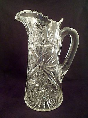 Exceptional American Brilliant Period Cut Crystal Pitcher, Jug, Over 5 Lbs