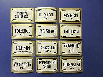 12+Old Pharmacy-Apothecary-Medicine Bottle Labels=Vintage Ephemera Lot=Nice