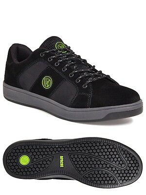 Mens New Apache Kick Work Steel Toe Cap Safety Trainers, Black  6-12 UK  NEW!