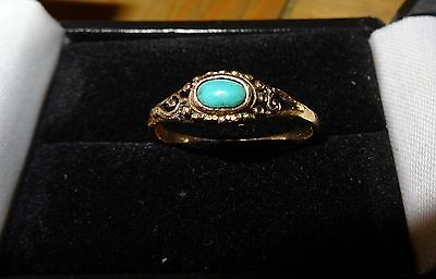 VICTORIAN ANTIQUE 10ct GOLD NATURAL BLUE TURQUOISE RING SIZE N c1900