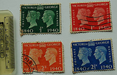 4 Victoria And George Stamps 1840 to 1940 ½ D to 2 ½ D ( Lot 84)