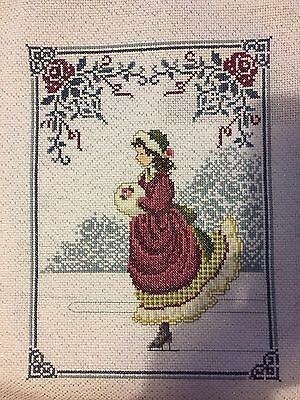 Winter Rose Lavender And Lace Completed Cross Stitch Picture