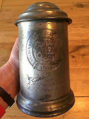 Antique Victorian Pewter Rowing Tankard Brasenose College Oxford University 1868