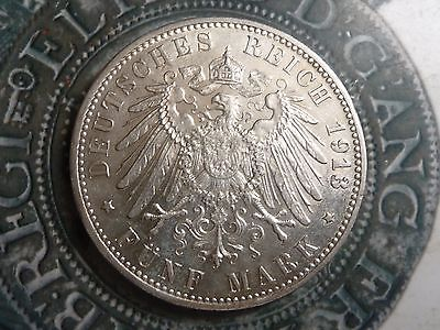 Germany bavaria 5 Mark 1913 .900 silver coin very high grade with some lustre