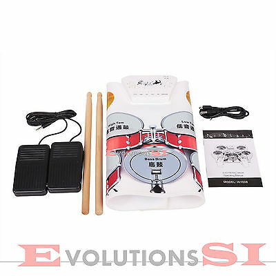 Bateria Electronica Flexible Pad De Practica Estudio Roll Up Drum Kit
