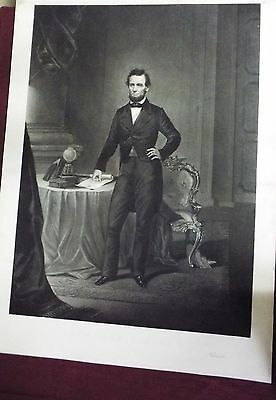 "Large 22""  X  30""   Antique Abraham Lincoln Engraving"