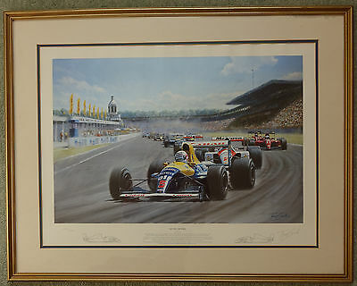 Limited Edition Print of Nigel Mansell, signed by Artist