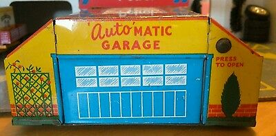 VINTAGE GLAM TOY PRODUCTS AUTOMATIC GARAGE  1950's TINPLATE RARE GTP 584
