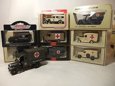 A Collection of Nine Military Model Ambulances