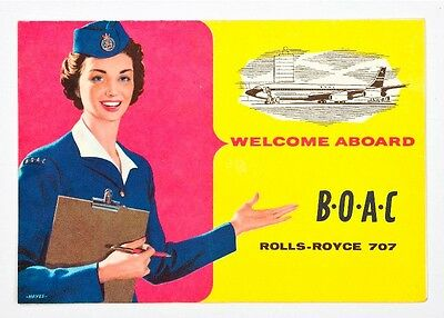 VINTAGE B.O.A.C AIRLINES ROLLS ROYCE 707 ADVERTISEMENT - quality glossy A4 print