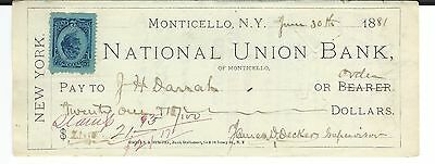 1881 National Union Bank, Monticello, New York Check