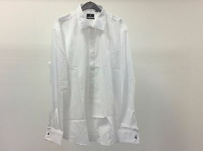 Mens White Standard Plain Slim Tuxedo Wedding Formal Dinner Tuxedo Dress Shirt