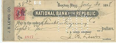 1898 National Bank of the Republic, Boston, MA Check