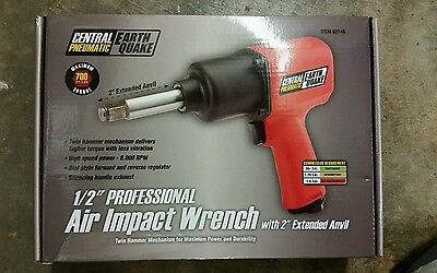 """Central Pneumatic Earth Quake 1/2"""" Professional Air Impact Wrench with 2"""" Anvil"""