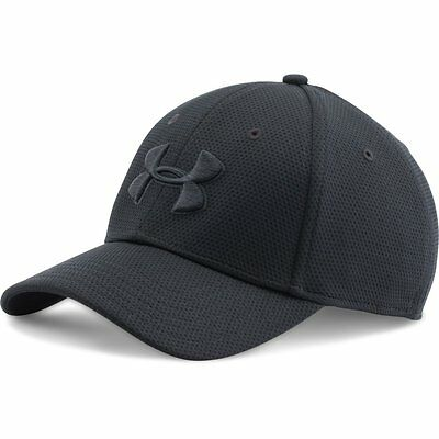 UNDER ARMOUR NEW Men's Cap Black Blitzing II Stretch Fit Hat BNWT