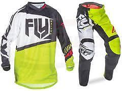 Fly F-16 Youth Kids Motocross Kit Deal 2017 - Lime Black White - Jersey & Pants